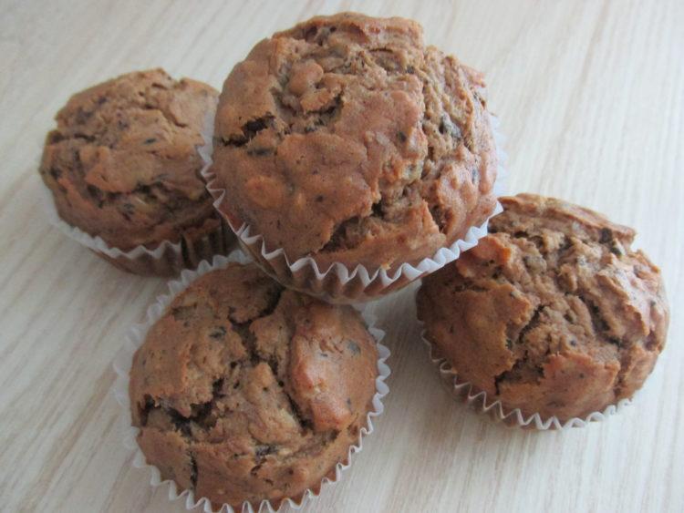 Muffinki pszenno owsiane bananowo-czekoladowe (raczkujac.pl)